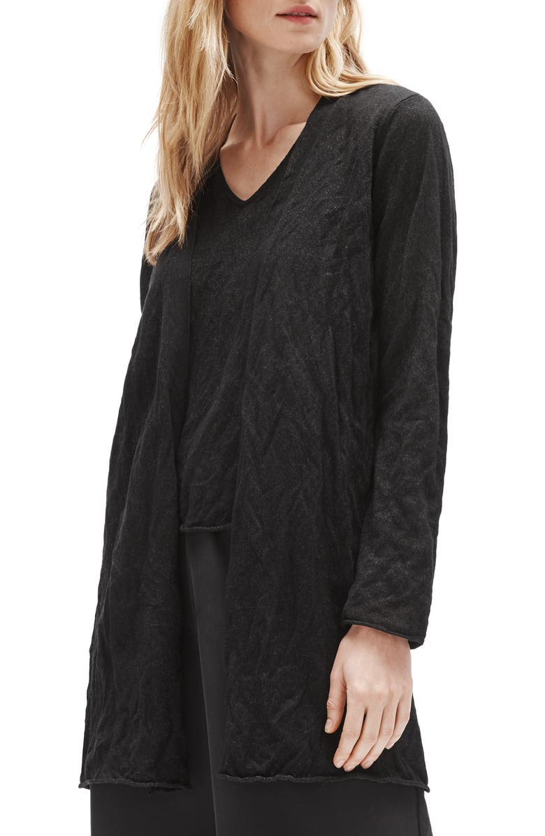 EILEEN FISHER Long Cardigan, Main, color, BLACK