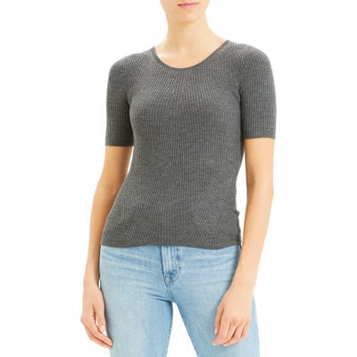 Theory Regal Moving Ribbed Short Sleeve Wool Sweater, Grey
