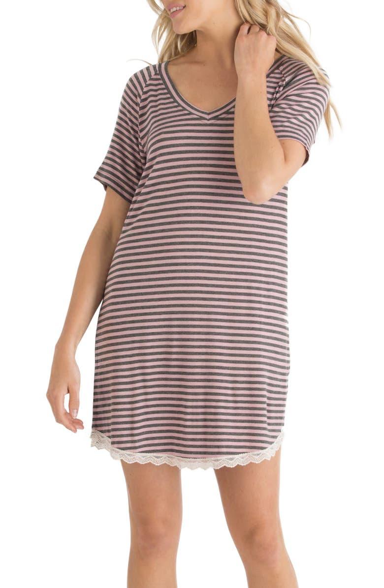 HONEYDEW INTIMATES All American Sleep Shirt, Main, color, LOVE LETTER STRIPE