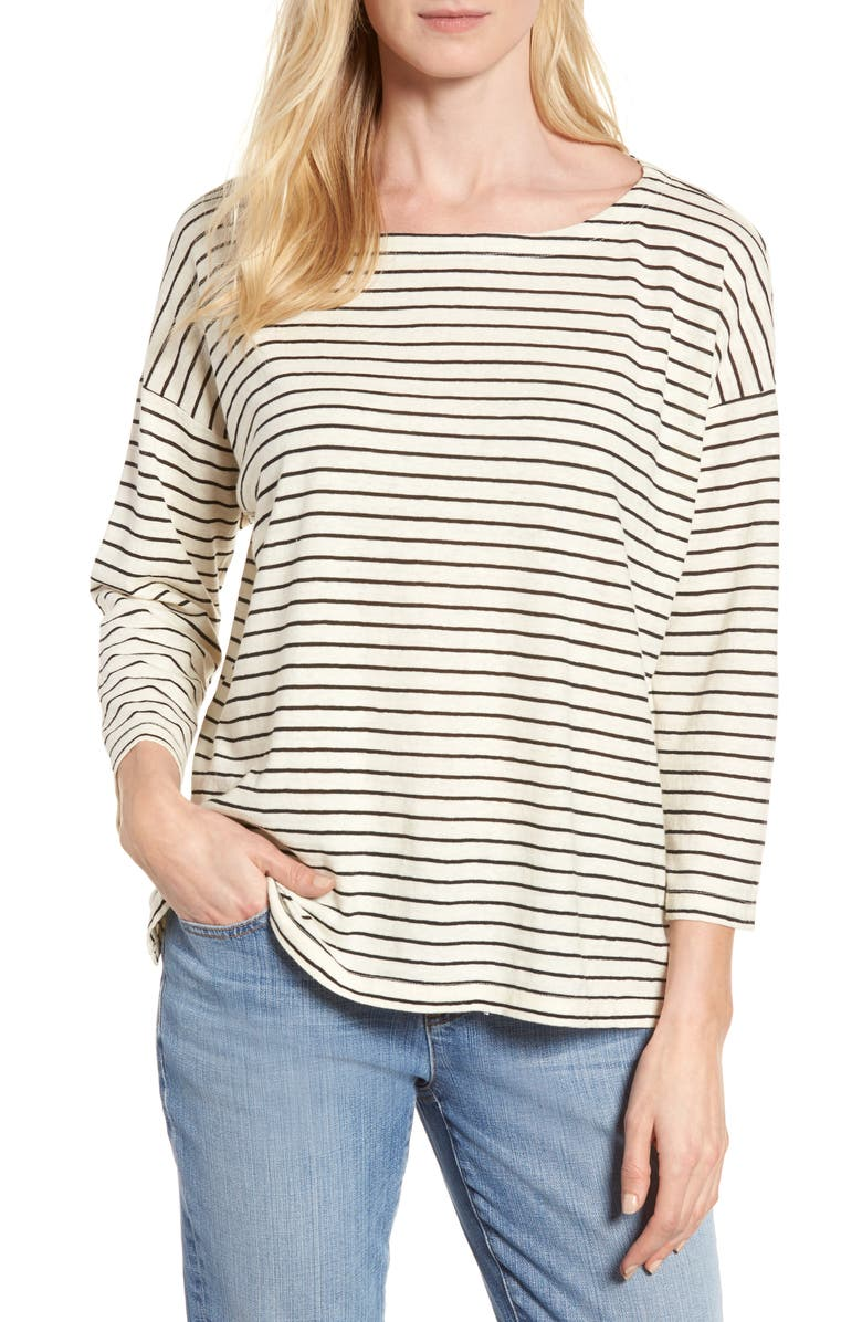 EILEEN FISHER Stripe Boxy Sweater, Main, color, 170
