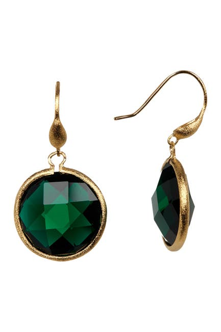 Image of Rivka Friedman Faceted Emerald Crystal Satin Round Single Dangle Earrings