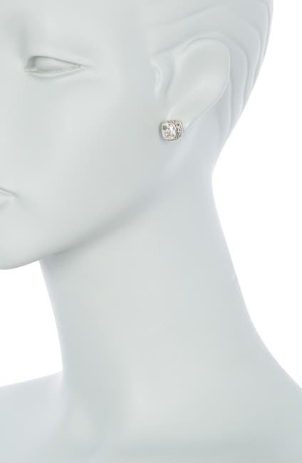 Image of JOHN HARDY Classic Chain Sterling Silver White Topaz Cushion Stud Earrings