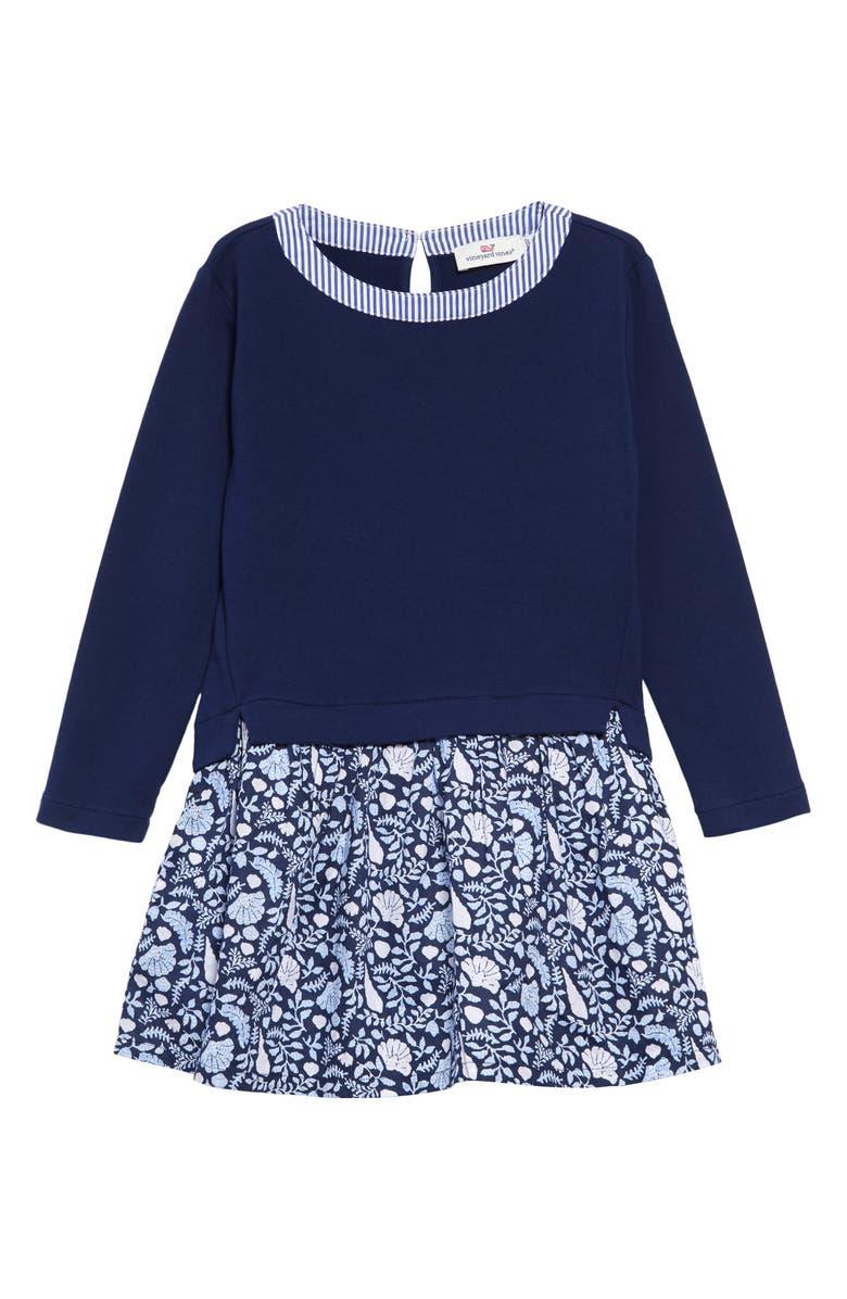 VINEYARD VINES Coastal Floral Sweatshirt Dress, Main, color, COASTAL FLORA/ DEEP BAY