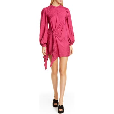 Johanna Ortiz Side Drape Leopard Jacquard Long Sleeve Minidress, Pink