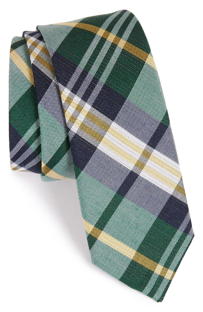 THE TIE BAR Plaid Silk & Linen Tie, Main, color, 308