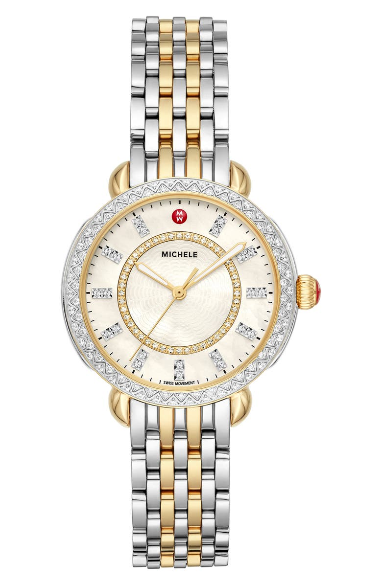 MICHELE Sidney Classic Diamond Watch Head & Interchangeable Bracelet, 33mm, Main, color, SILVER/ WHITE MOP/ GOLD