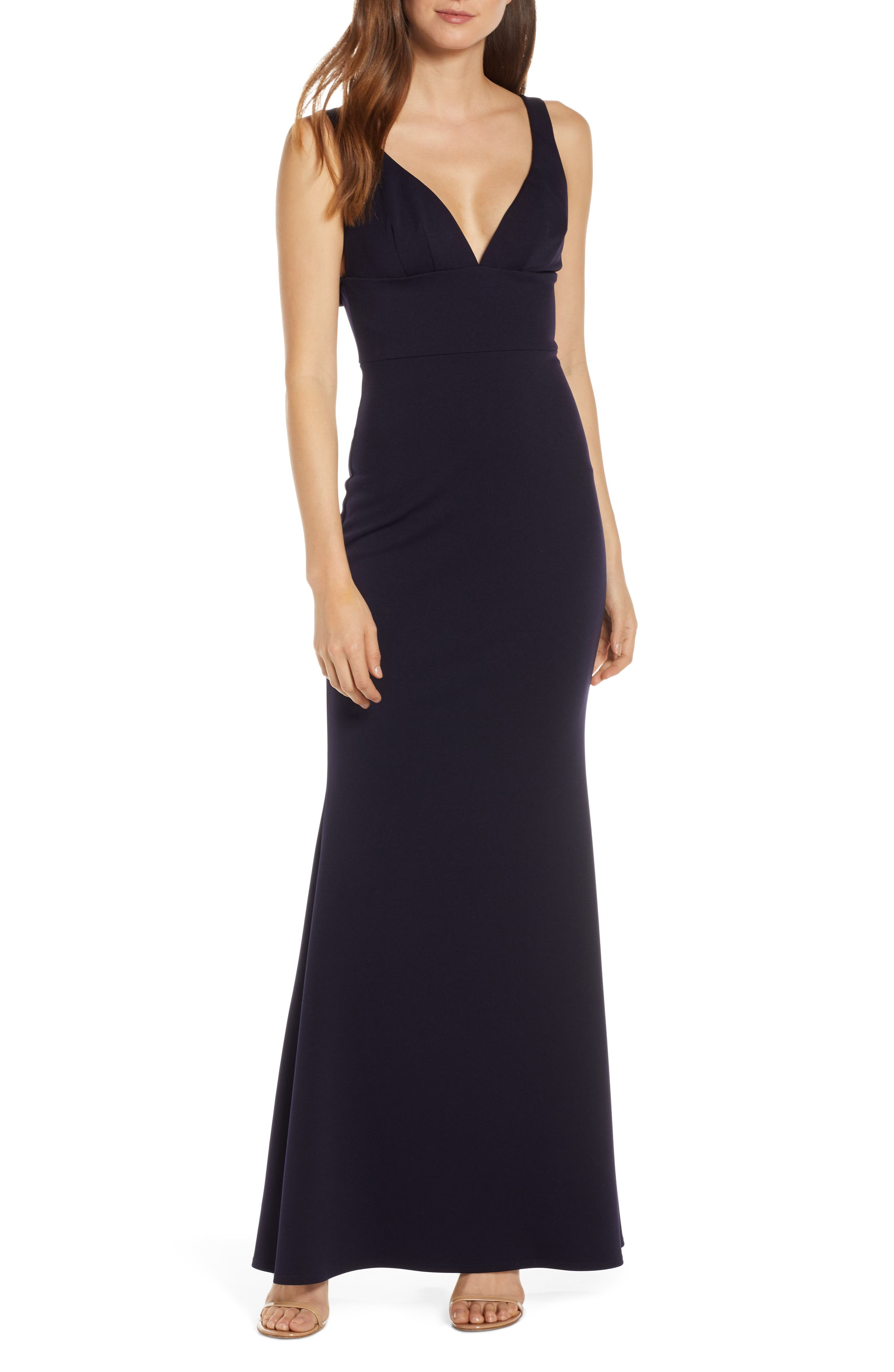 Katie May Helena V-Neck Trumpet Gown, Blue