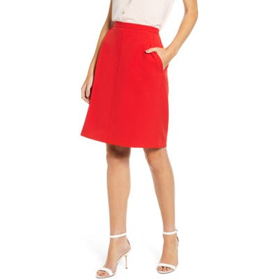 Anne Klein Crepe A-Line Skirt, Red