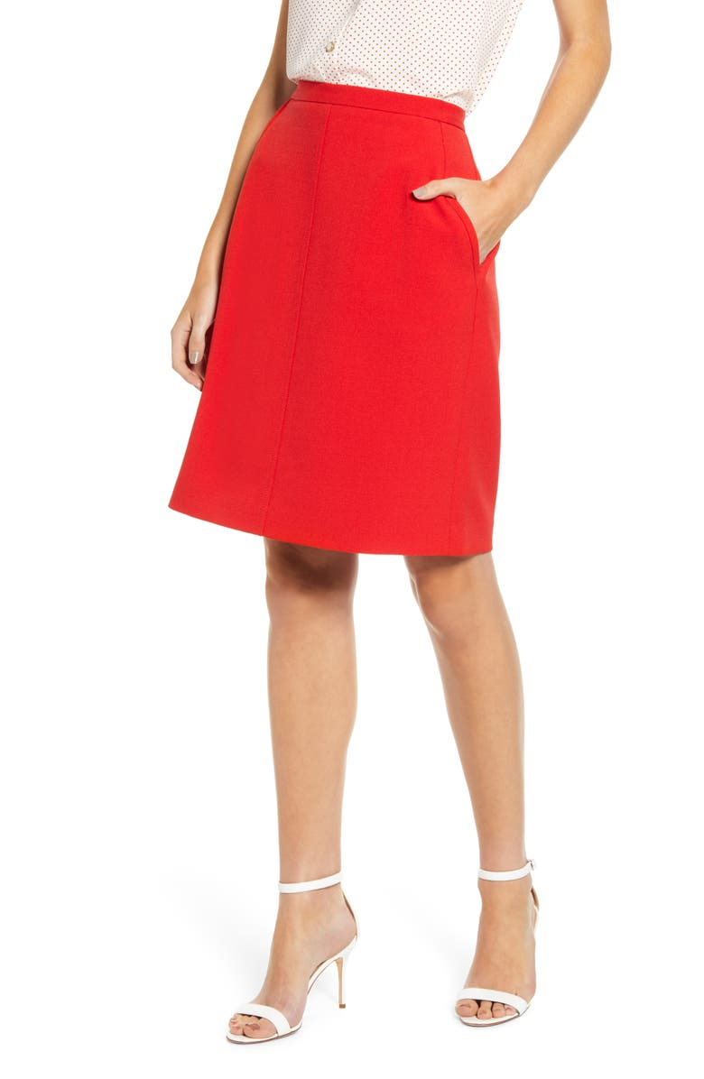 ANNE KLEIN Crepe A-Line Skirt, Main, color, PINOT