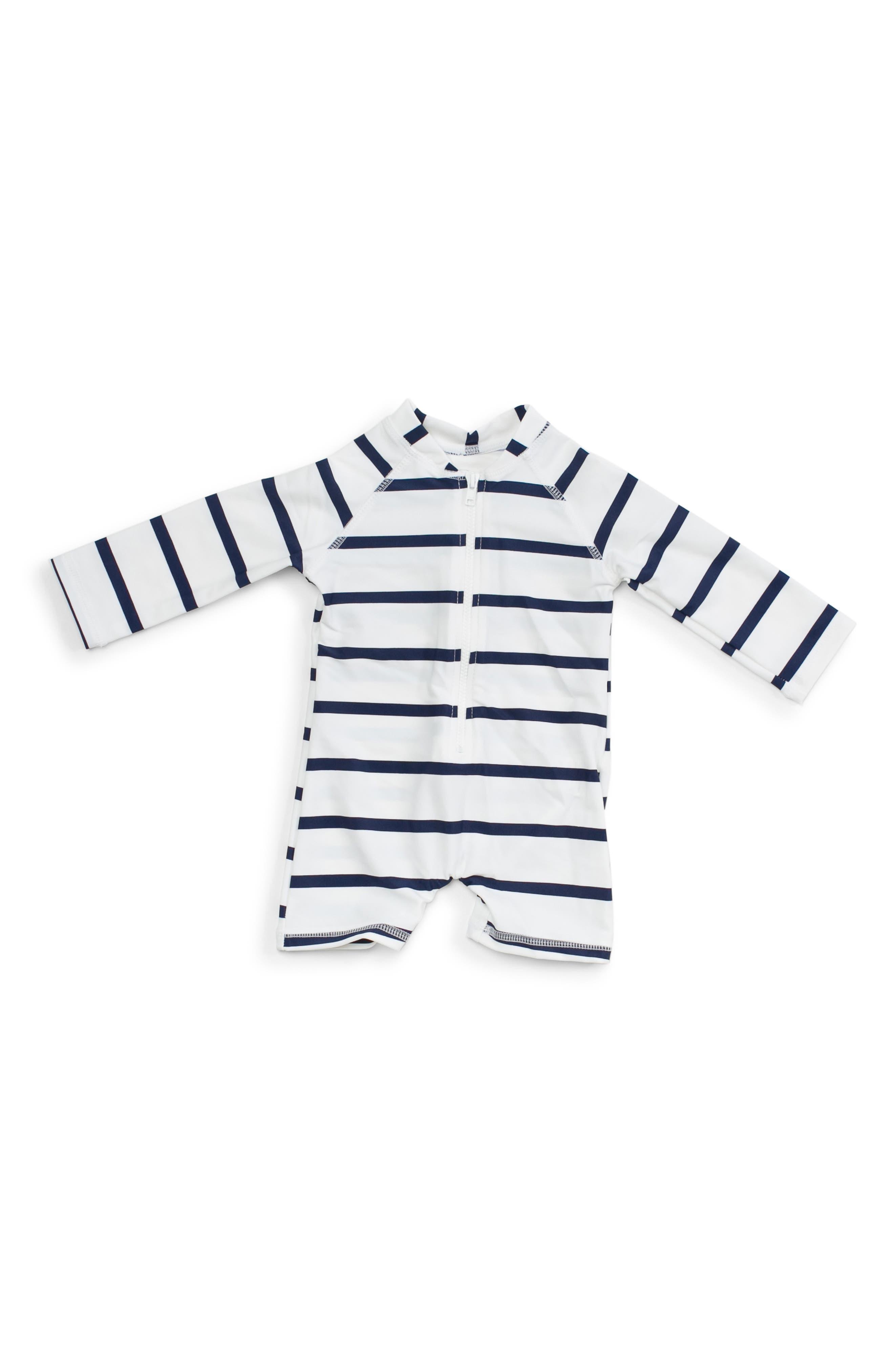 Infant Mott 50 Stripe One-Piece Rashguard Swimsuit,2 - Blue