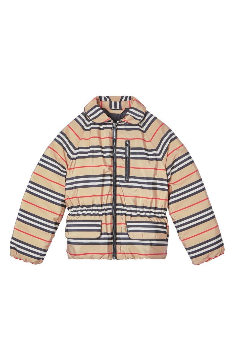 BURBERRY Mollie Icon Stripe Down Jacket, Main, color, 250