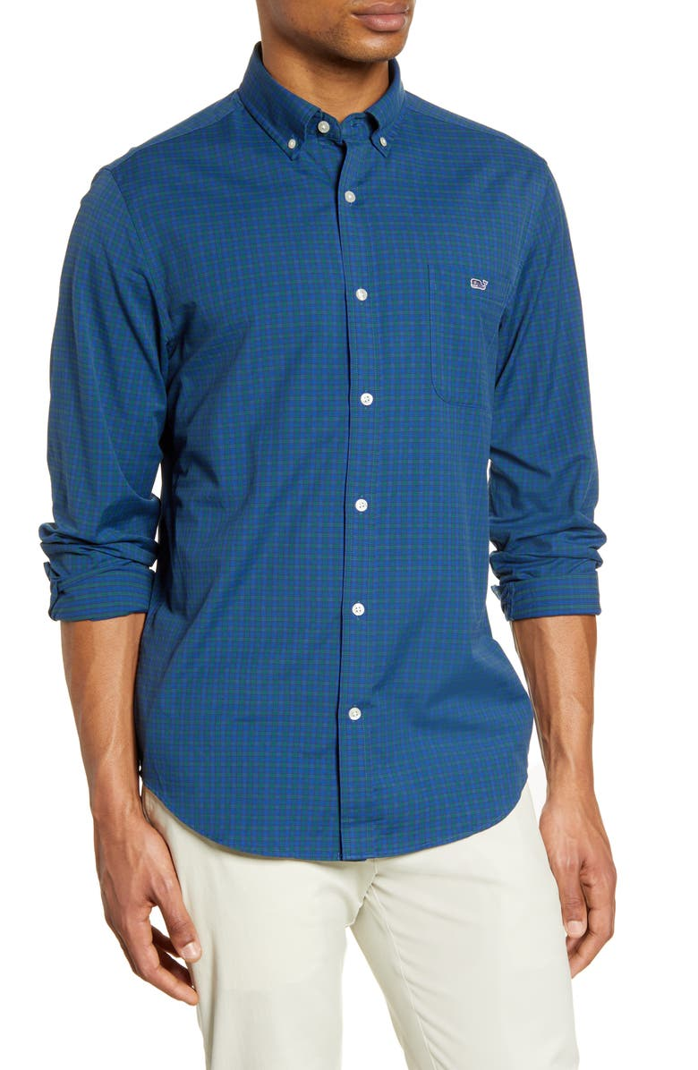 VINEYARD VINES Tucker Regular Fit Performance Button-Down Shirt, Main, color, BLUE BAY