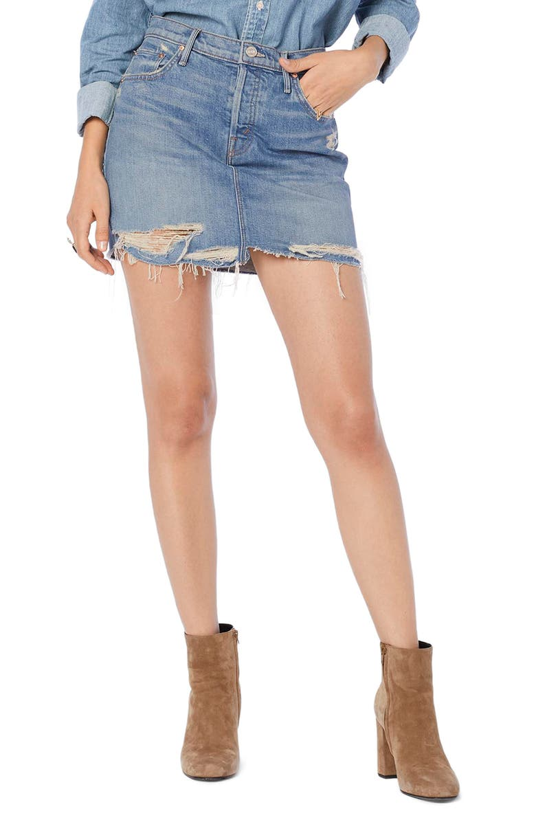 MOTHER Vagabond Fray Denim Miniskirt, Main, color, DESTROYED BILLS