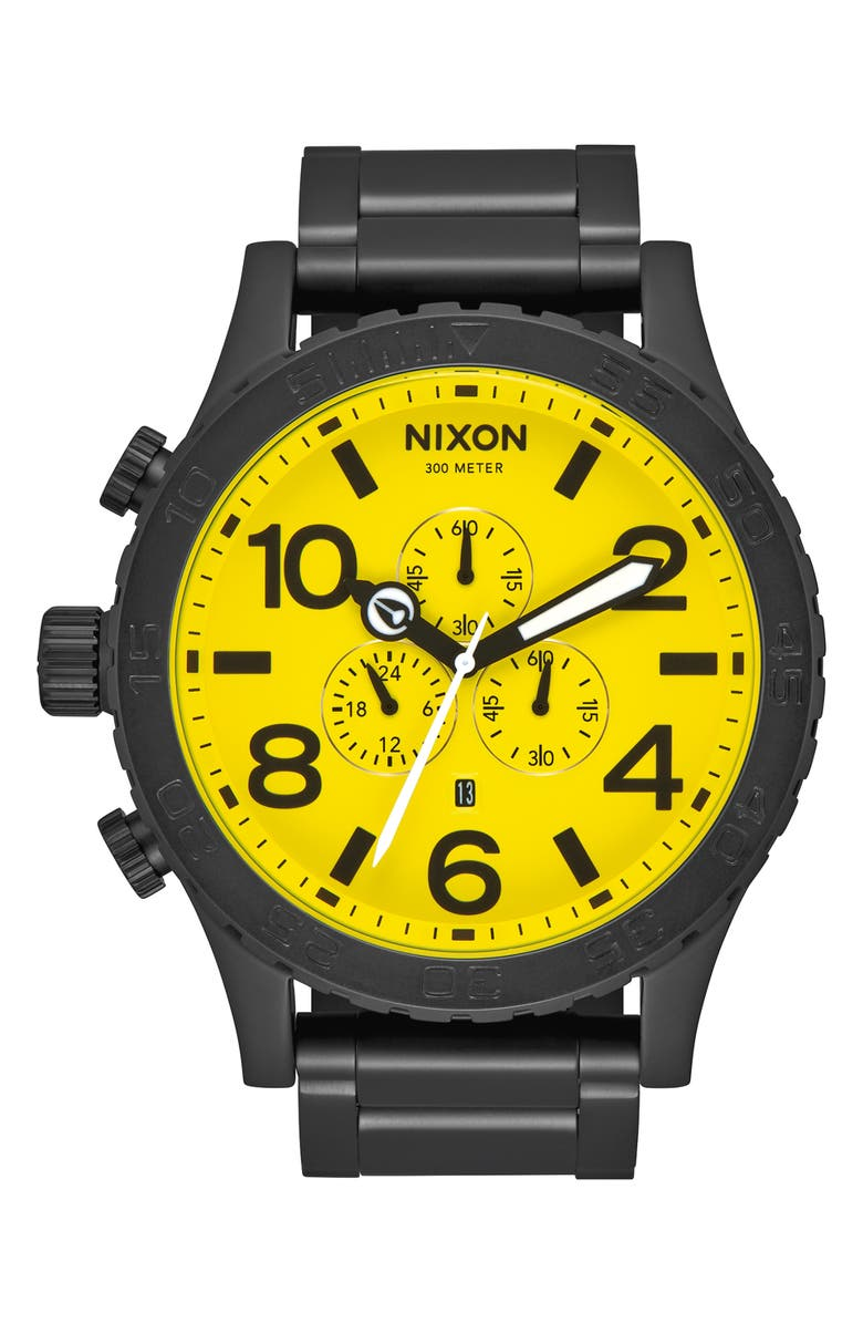 NIXON 'The 51-30 Chrono' Watch, 51mm, Main, color, BLACK/ YELLOW/ BLACK