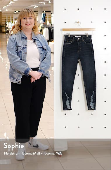Jamie High Waist Ripped Hem Skinny Jeans, sales video thumbnail