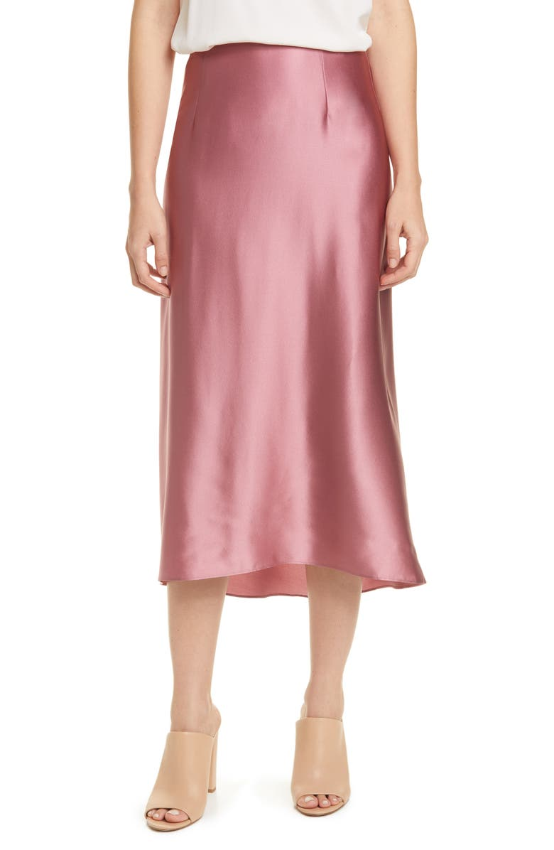 VINCE Silk Midi Skirt, Main, color, ROSE ROOT