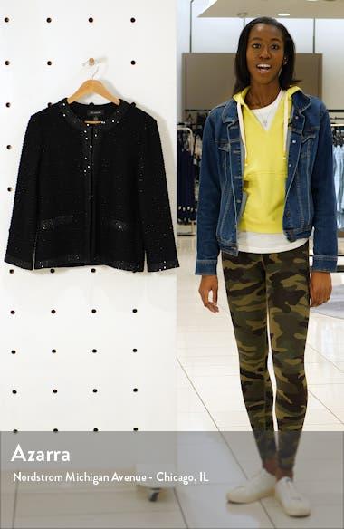 Glittering Textured Stripe Knit Jacket, sales video thumbnail