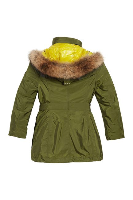 Image of Burberry Chevrington Genuine Fox Fur Trim Hood Parka