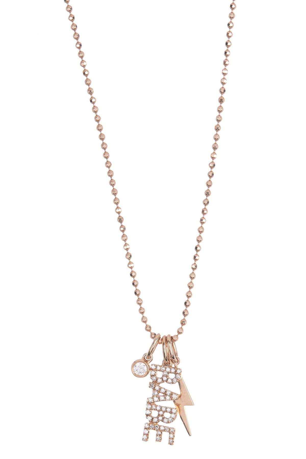 Image of EF Collection 14K Rose Gold Pave Stone Babe Pendant Necklace