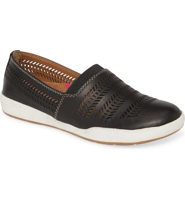 COMFORTIVA Loring Slip-On Sneaker, Main, color, BLACK LEATHER