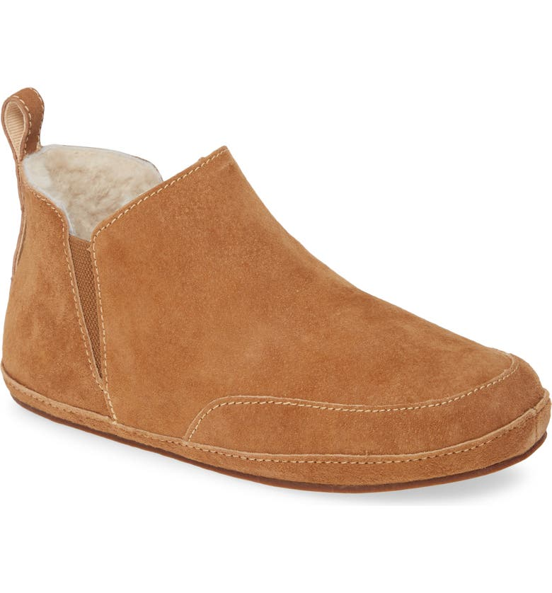 OLUKAI Olani Genuine Shearling Slipper, Main, color, TAN/ NATURAL NUBUCK LEATHER