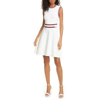 Ted Baker London Apryll Contrast Stripe Sleeveless Fit & Flare Dress, White