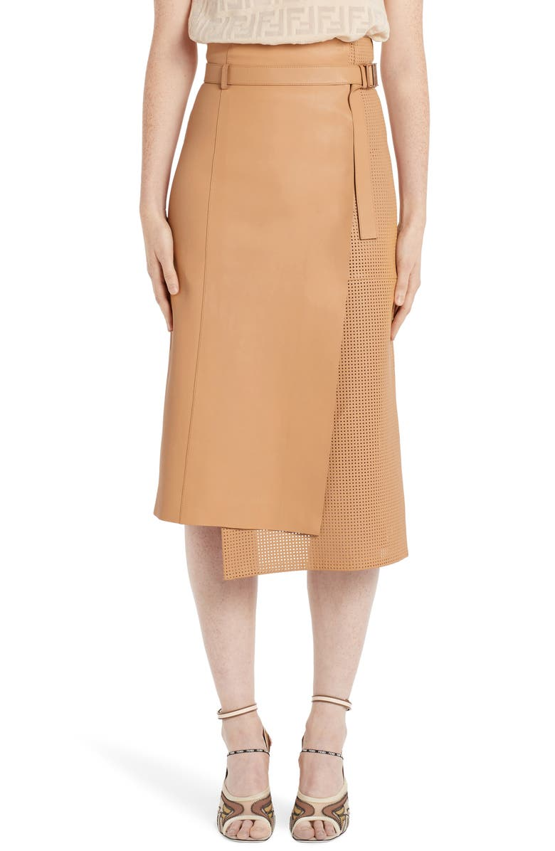 FENDI Asymmetrical Perforated Leather Wrap Skirt, Main, color, DURIAN