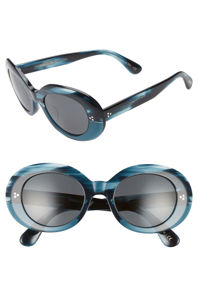 OLIVER PEOPLES Erissa 52mm Round Sunglasses, Main, color, TEAL/ DARK GREY