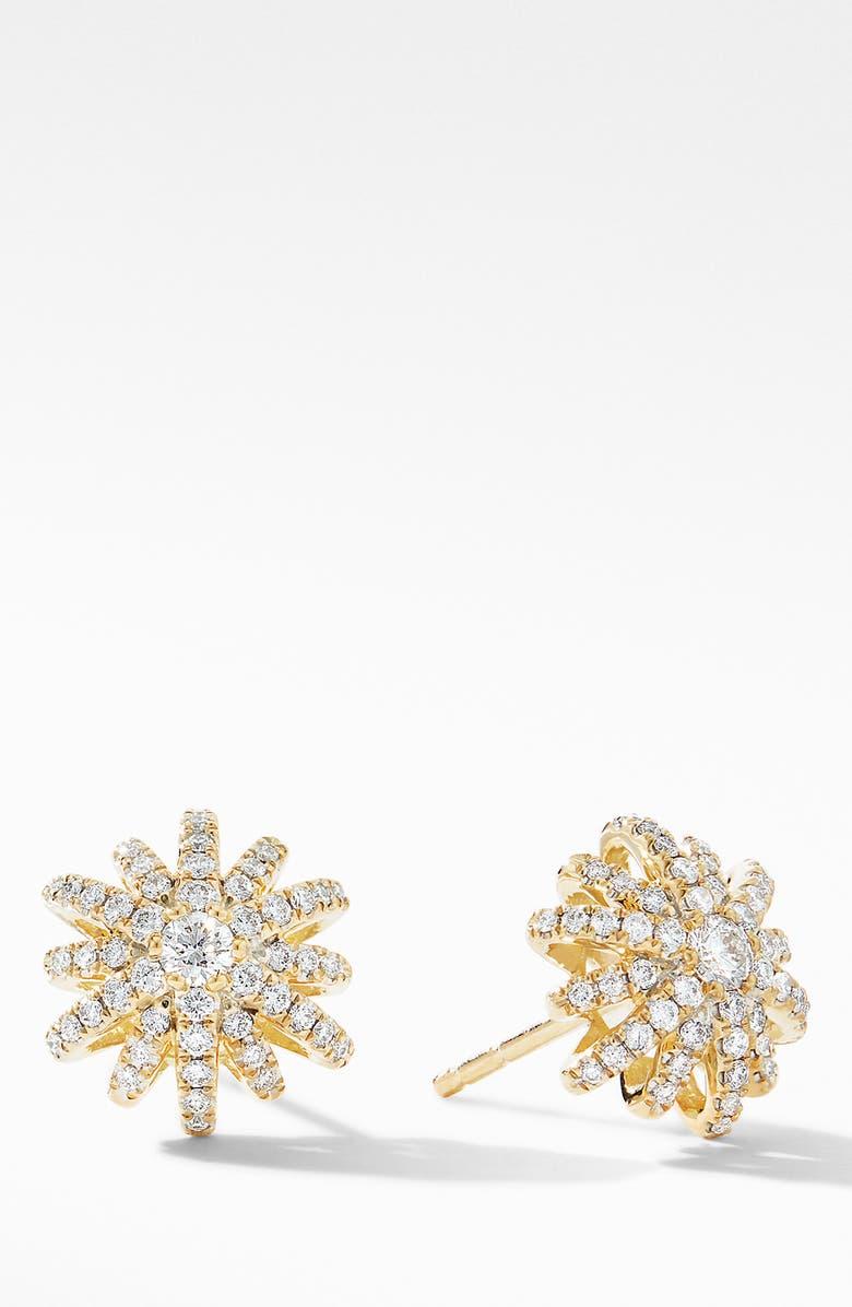 DAVID YURMAN Starburst Stud Earrings in 18K Yellow Gold with Pavé Diamonds, Main, color, DIAMOND