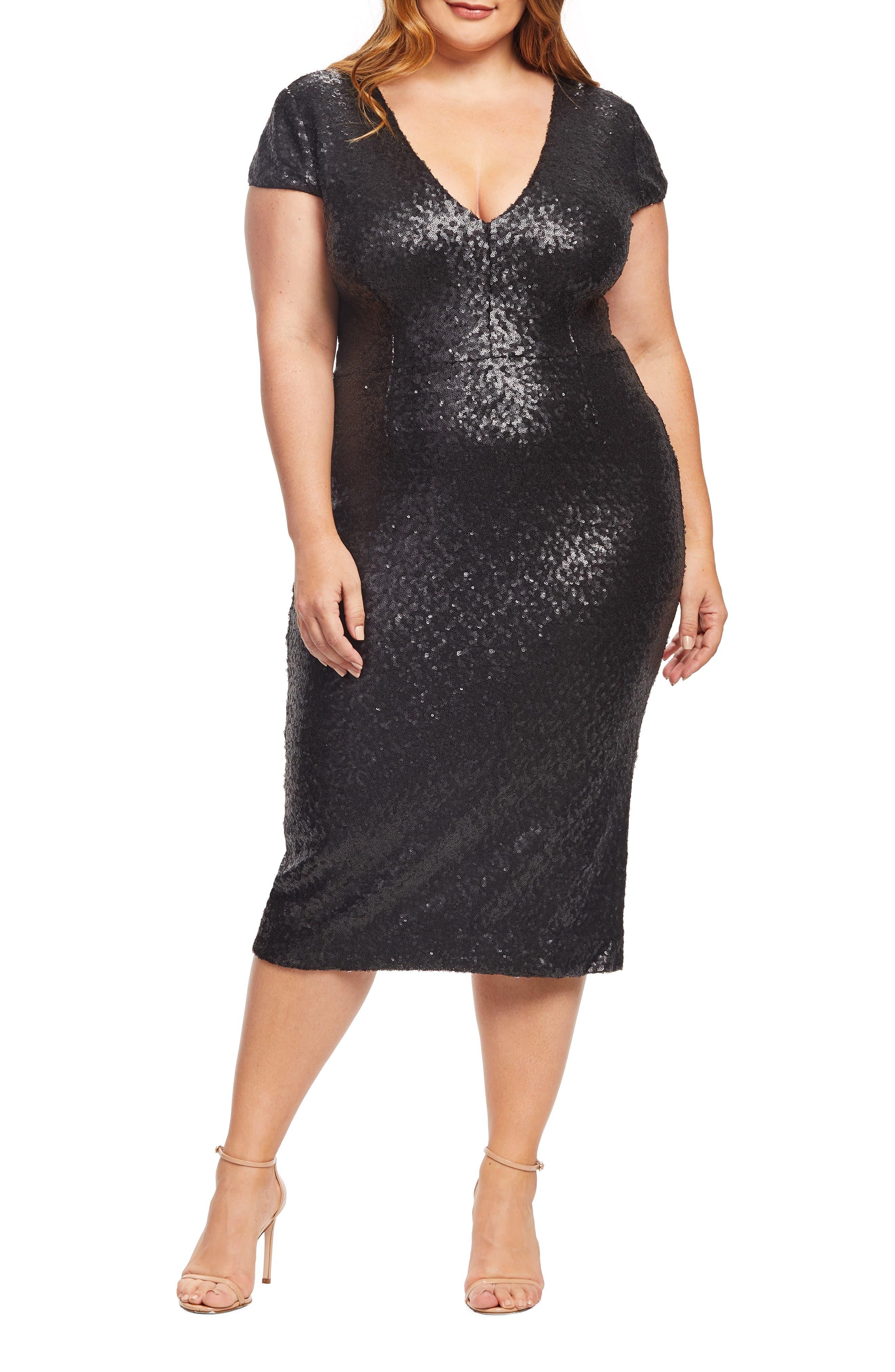 Plus Size Dress The Population Allison Sequin Sheath Dress