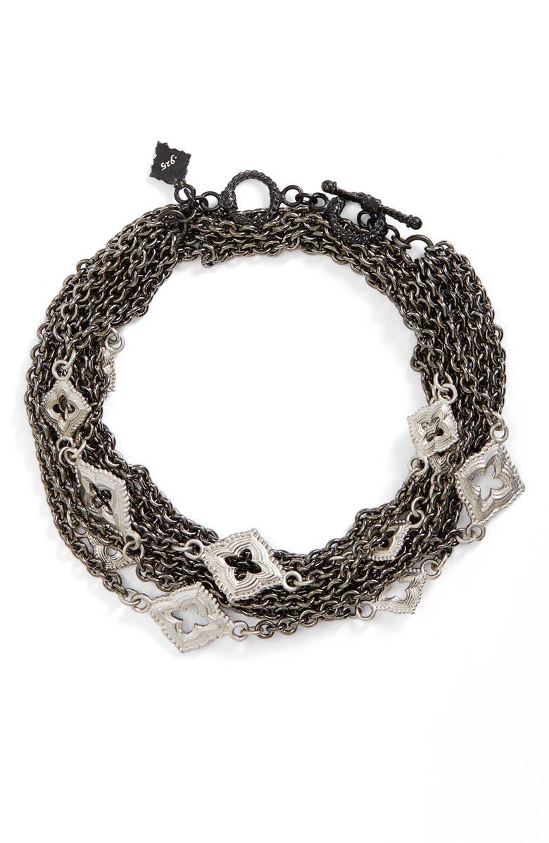 ARMENTA New World Double Wrap Scroll Bracelet, Main, color, BLACK