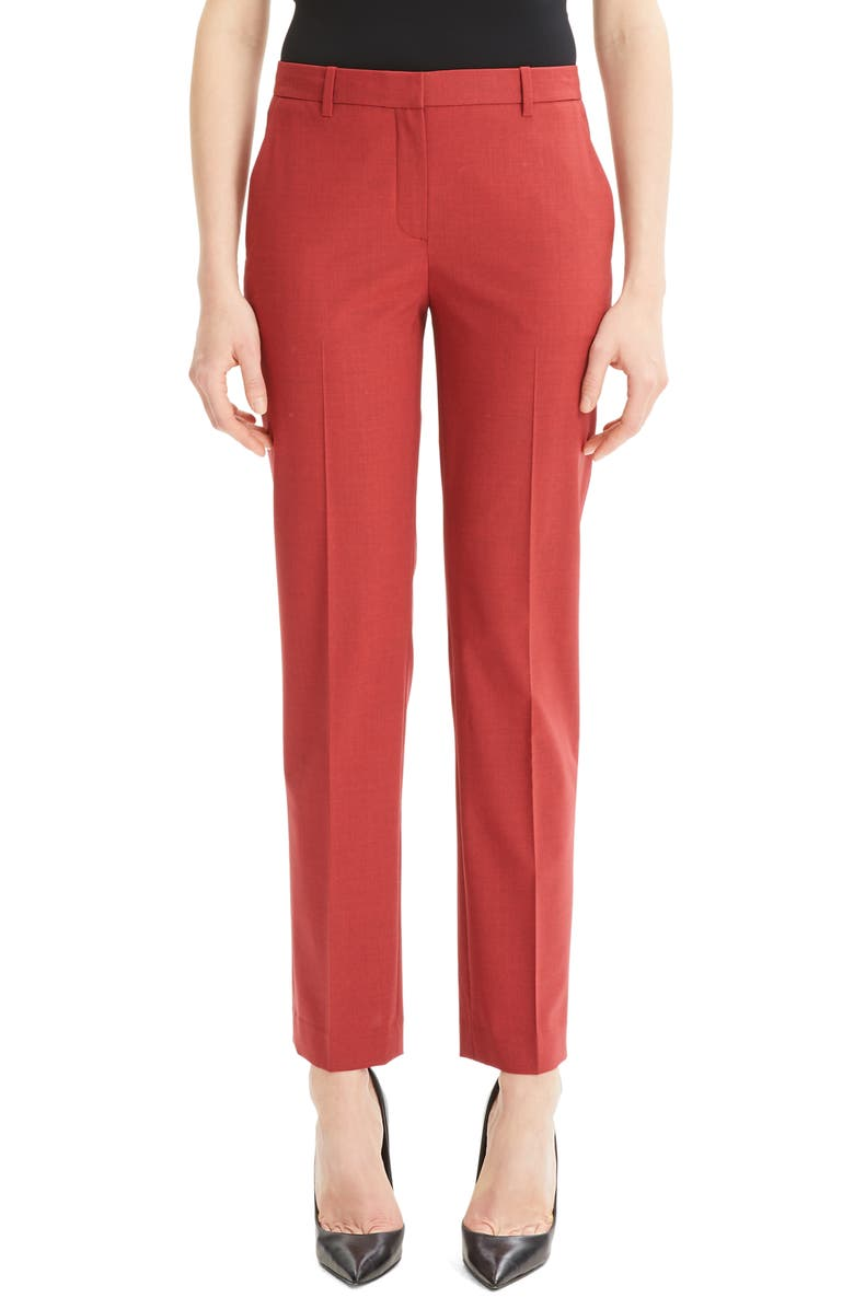 THEORY Tailored Trousers, Main, color, LIGHT CRANBERRY