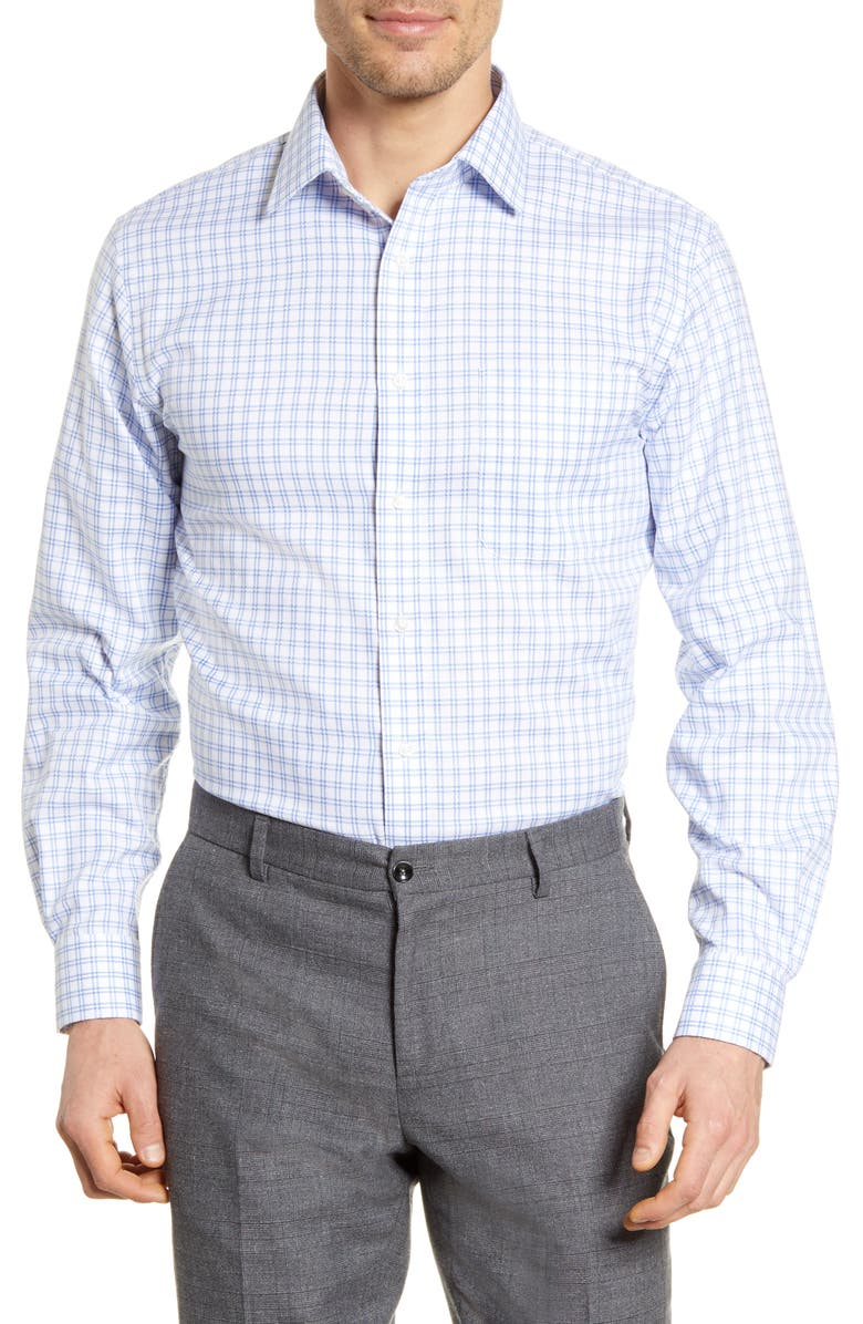 NORDSTROM MEN'S SHOP Traditional Fit Non-Iron Check Dress Shirt, Main, color, BLUE FRENCH