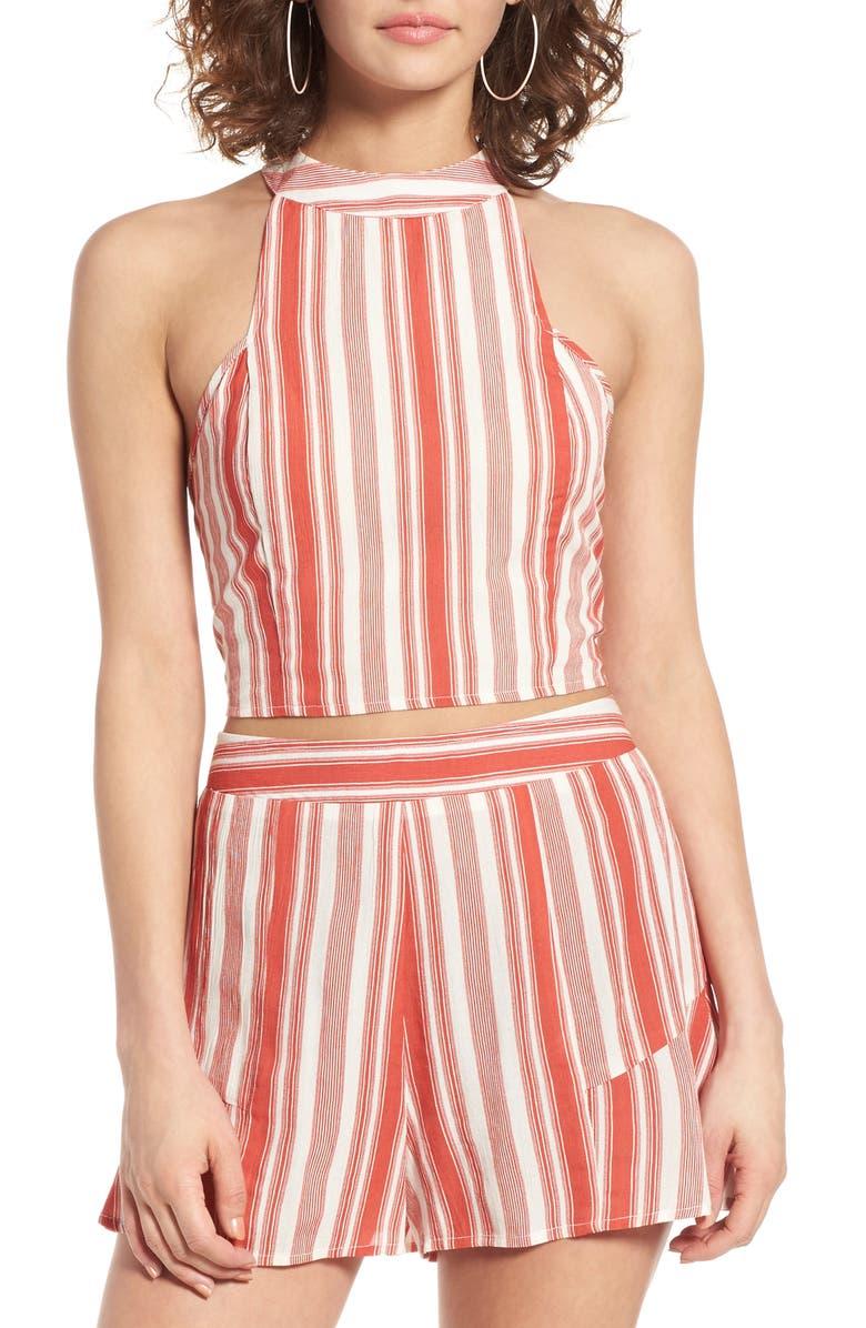 BAND OF GYPSIES Stripe Crop Top, Main, color, 900