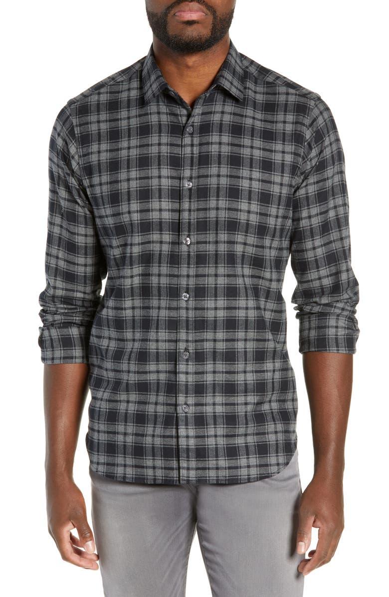 JEFF Jackson Slim Fit Plaid Shirt, Main, color, 001