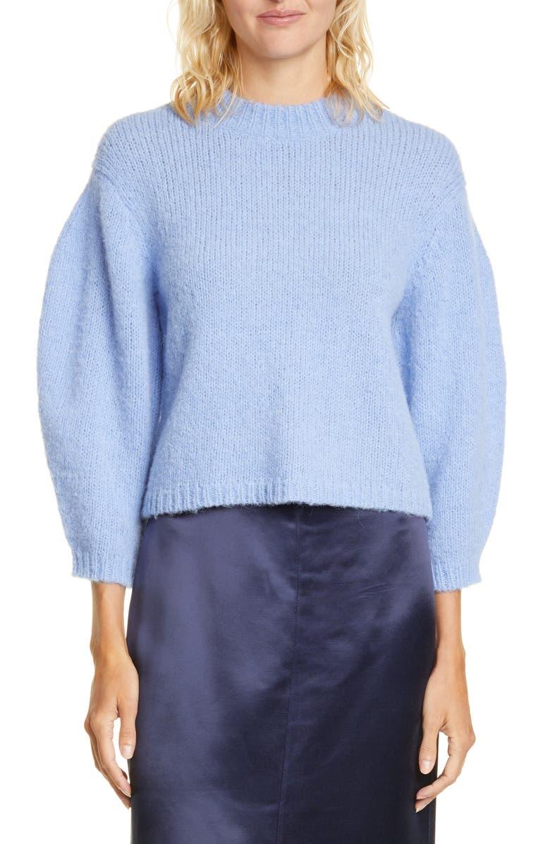 TIBI Cozette Alpaca & Wool Blend Crop Sweater, Main, color, DENIM BLUE