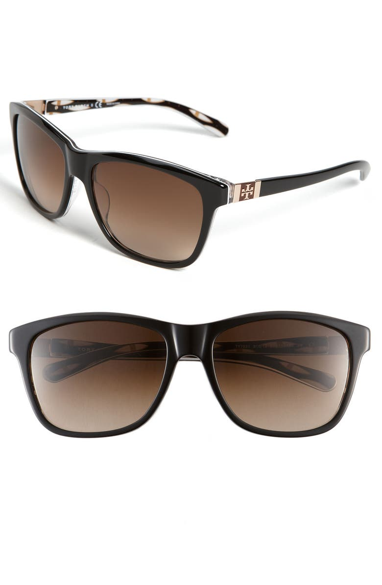 TORY BURCH 'Logo' Translucent Sunglasses, Main, color, BLACK/ WHITE