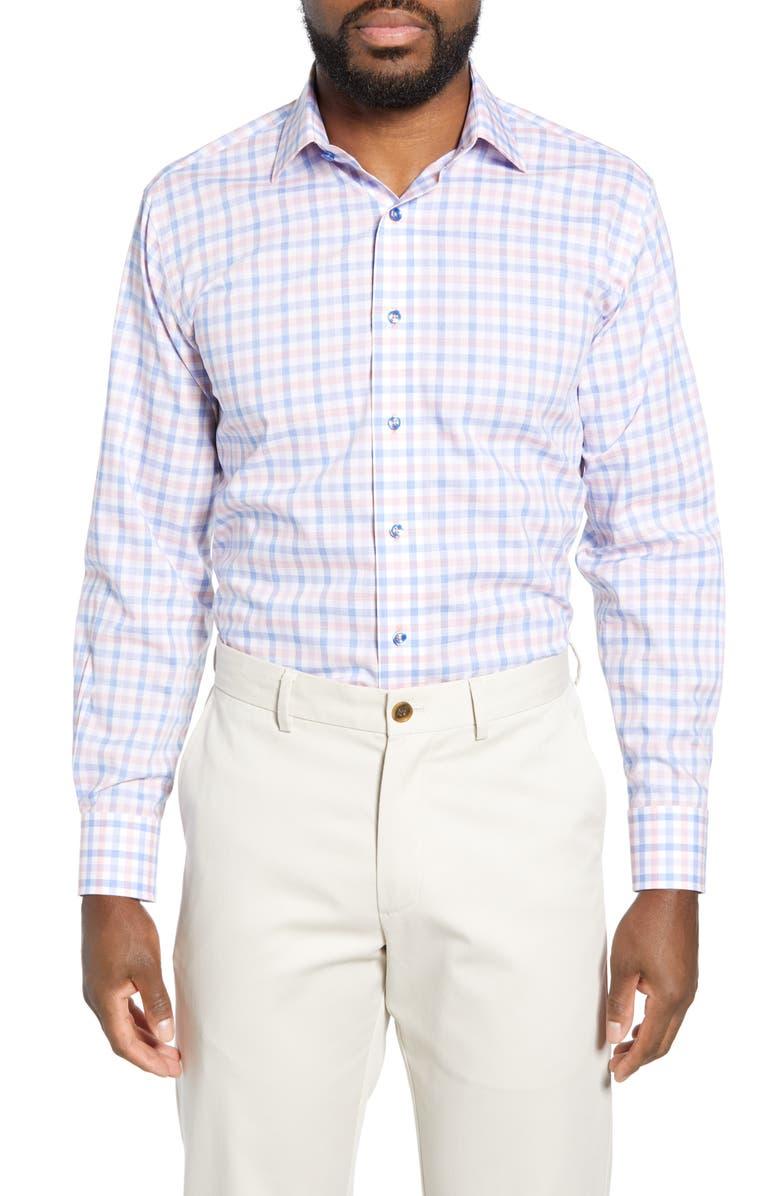 LORENZO UOMO Trim Fit Check Dress Shirt, Main, color, 820