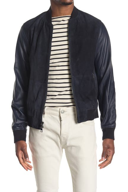 Image of Michael Kors Perforated Suede Leather Bomber Jacket