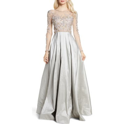 MAC Duggal Floral Applique Long Sleeve Ballgown, Grey