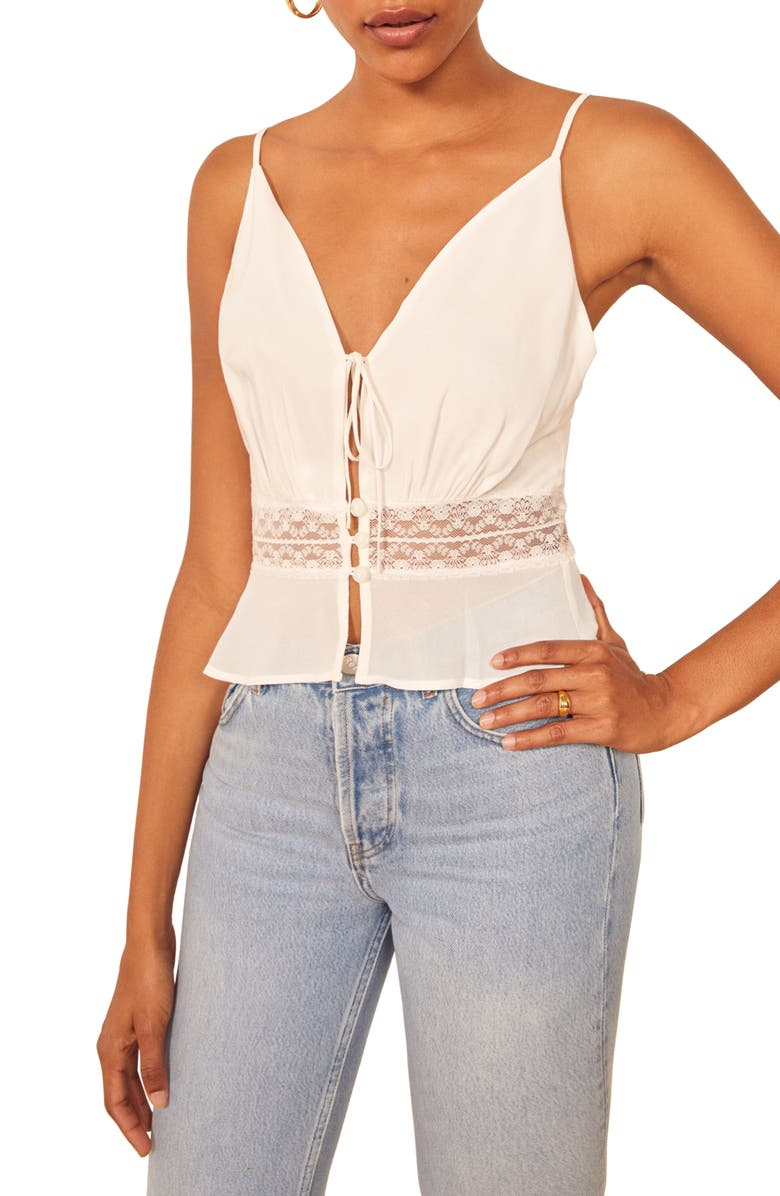 REFORMATION Penny Camisole Top, Main, color, IVORY