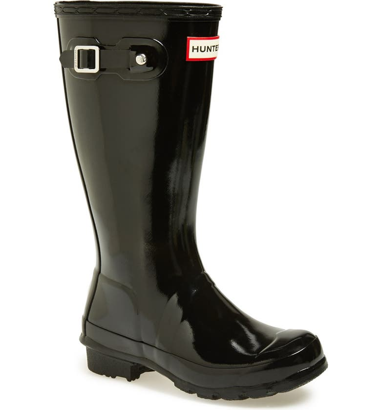 HUNTER Original Gloss Rain Boot, Main, color, BLACK