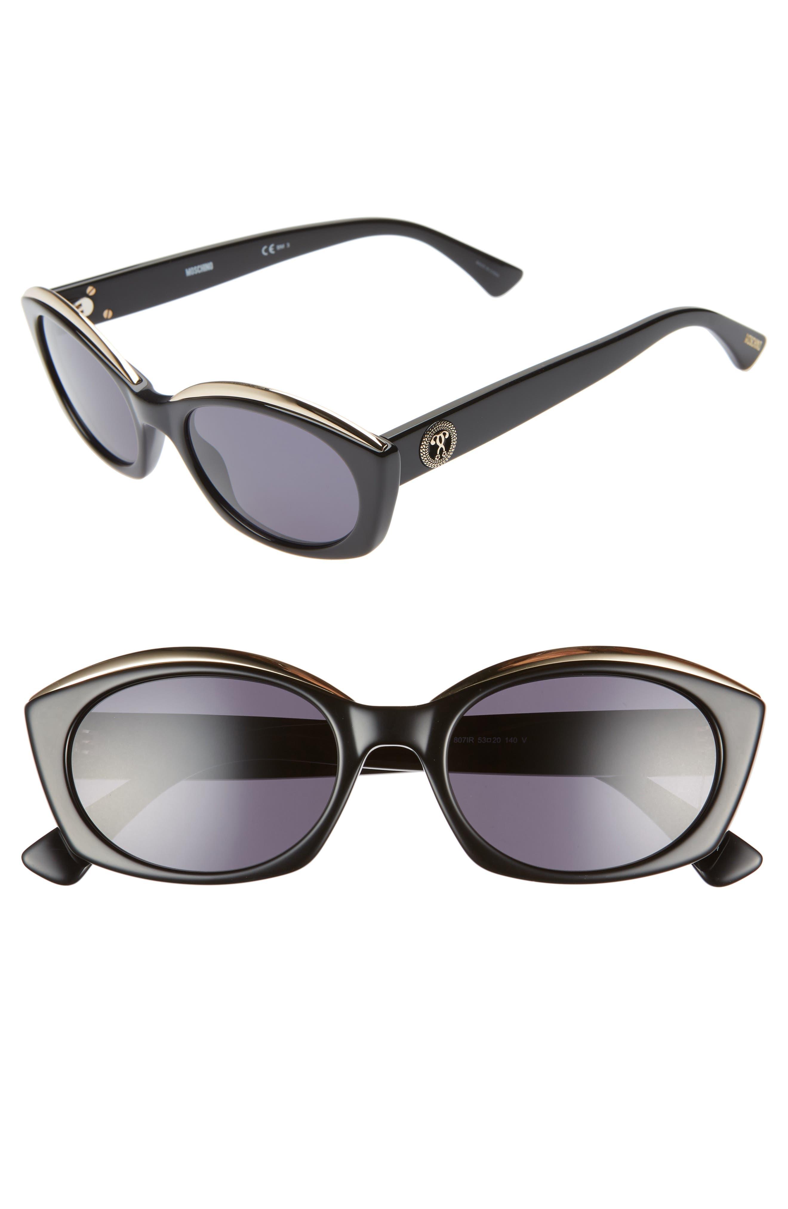 Core 53mm Oval Sunglasses, Main, color, BLACK
