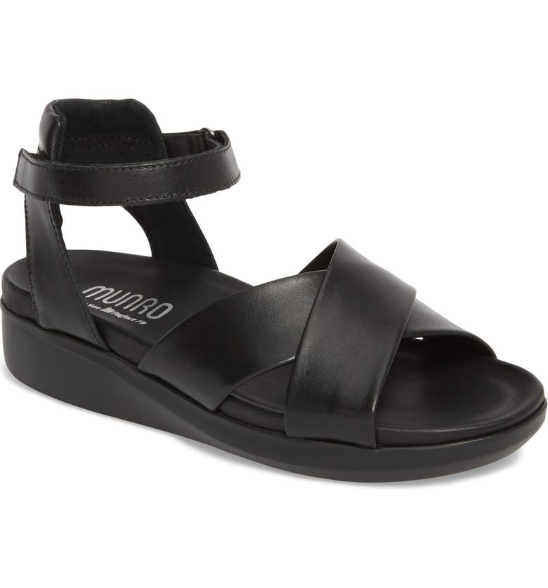 MUNRO Brinn Sandal, Main, color, BLACK LEATHER