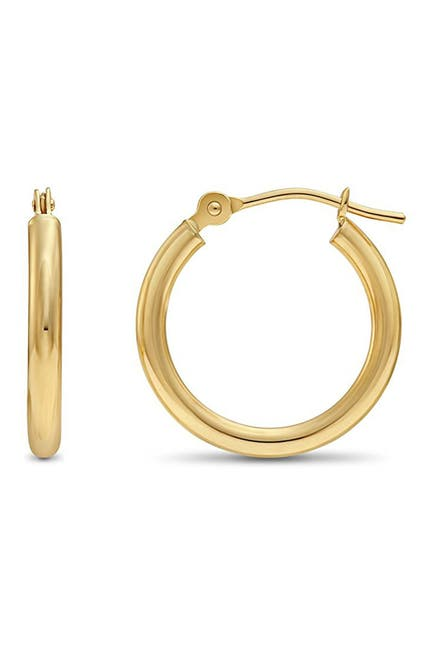 Image of Best Silver Inc. 14K Gold 15mm High Polished Hoop Earrings