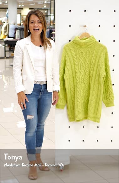 Oversized Neon Cable Turtleneck Sweater, sales video thumbnail