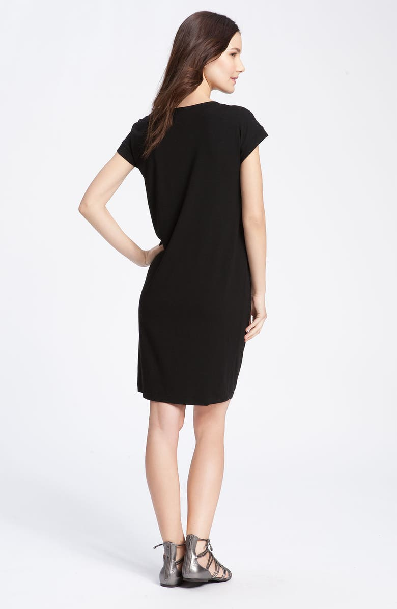 EILEEN FISHER Drape Front Shift Dress, Main, color, 001