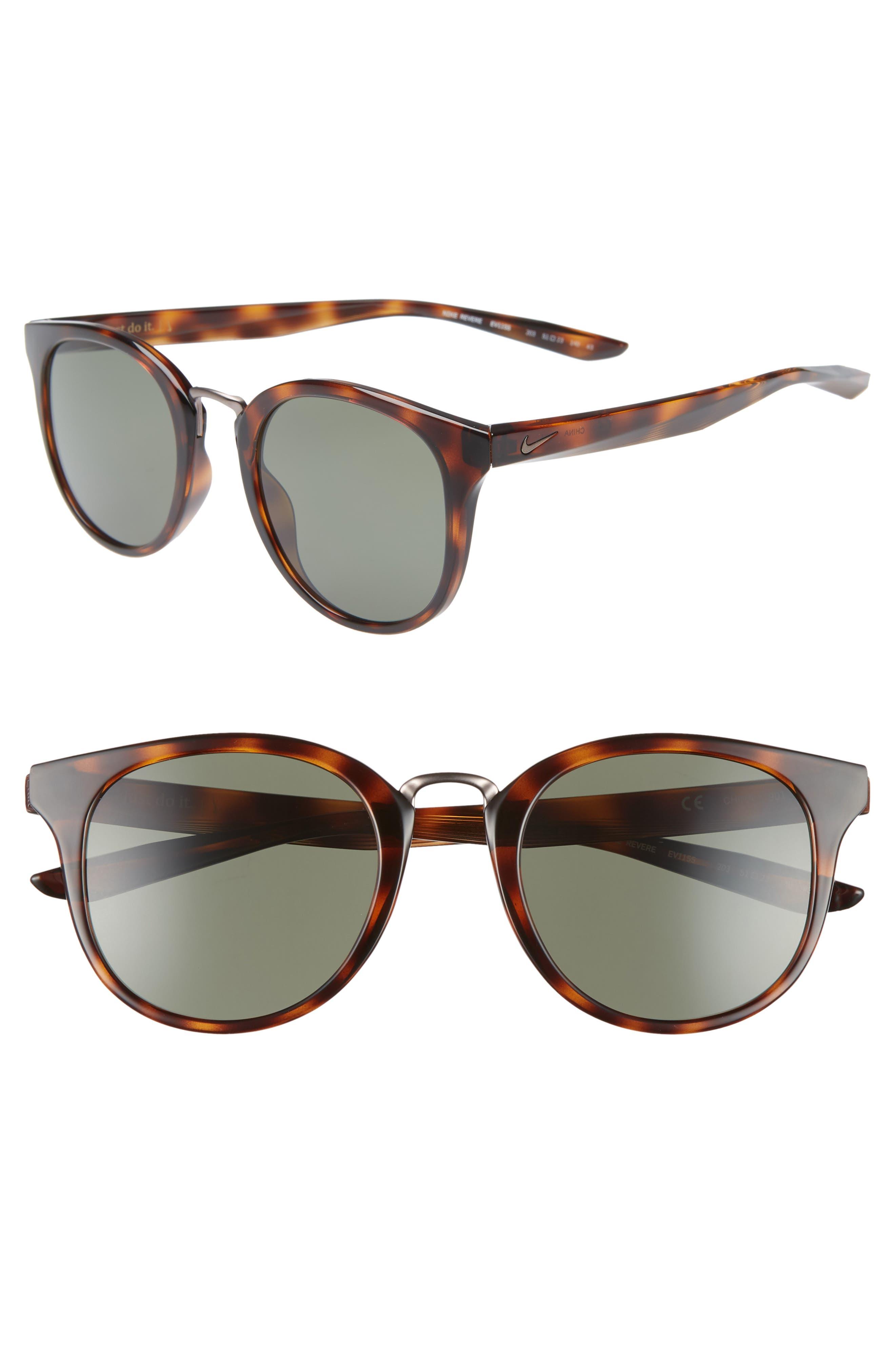 Nike Revere 51Mm Round Sunglasses - Tortoise/ Green