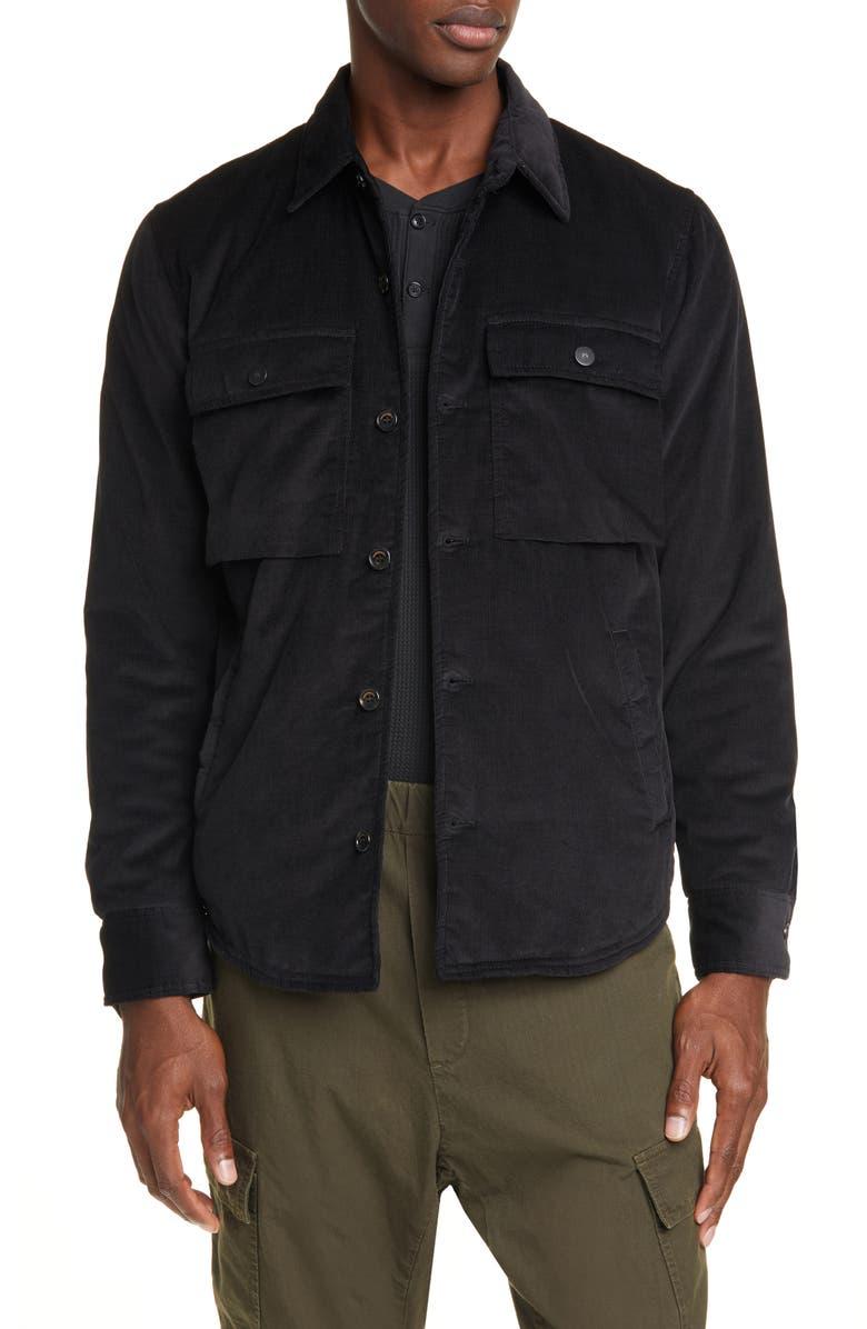 PRESIDENT'S Corduroy Shirt Jacket, Main, color, BLACK