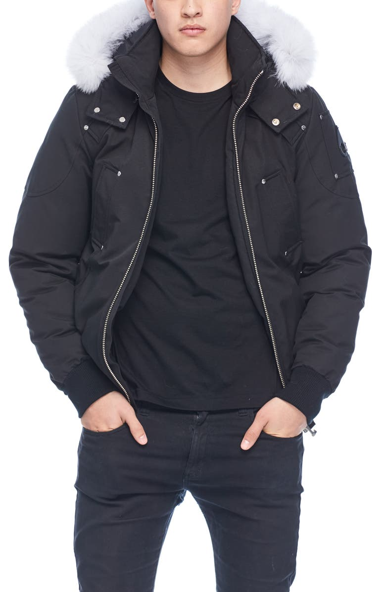 'Ballistic' Bomber Jacket with Genuine Fox Fur Trim